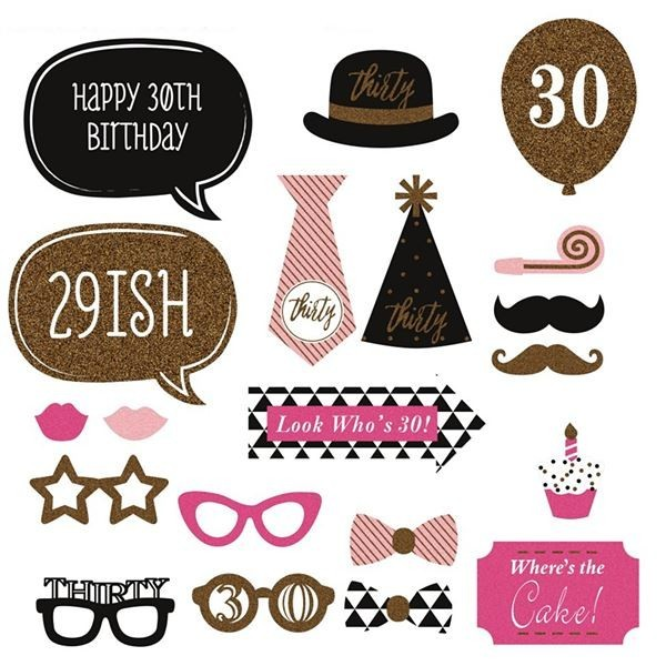 30th Birthday Pack Card Props On Sticks