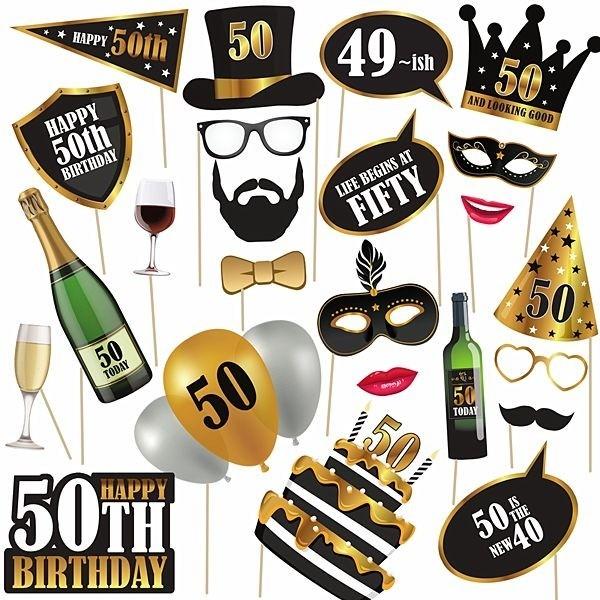50th Birthday High Quality Props on Sticks