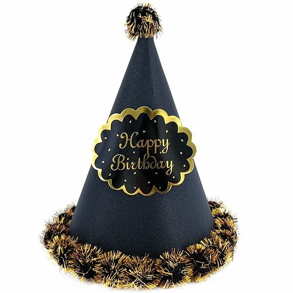 Black Glitter Happy Birthday Paper Hat