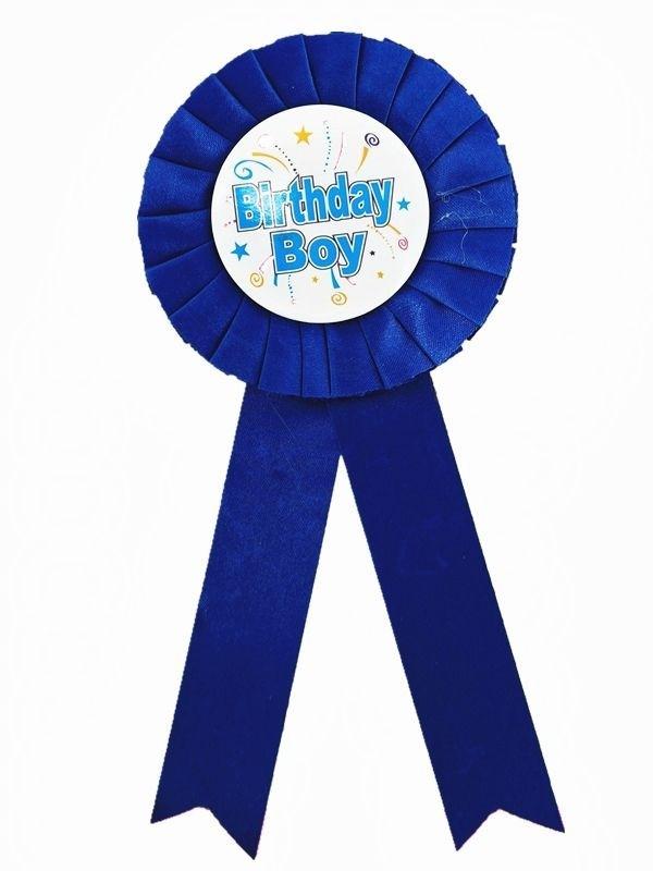 Blue 'Birthday Boy' Rosette Badge
