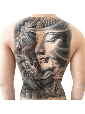 Black and Grey Buddha Full Back Temporary Tattoo Body Art Transfer No. 12