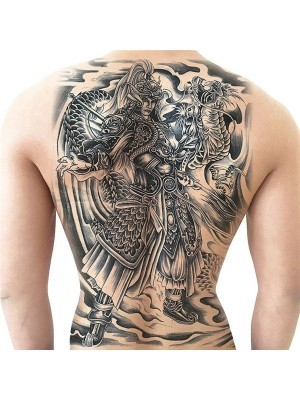 Samurai Warrior and Dragon Full Back Temporary Tattoo Body Art Transfer No. 13
