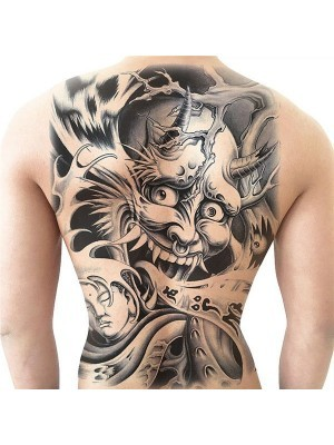 Samurai Devil Full Back Temporary Tattoo Body Art Transfer No. 17