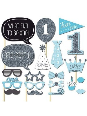 20pc Blue Photo Booth Props Baby Shower Boy 1st First Birthday Party