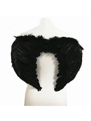 Black Feather Angel Wings Medium