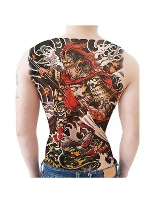 Colourful Warrior Full Back Temporary Tattoo Body Art Transfer No. 53