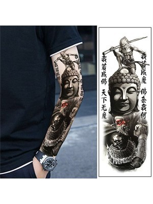 Indian God, Buddha Sleeve Temporary Tattoo Body Art Transfer No. 60