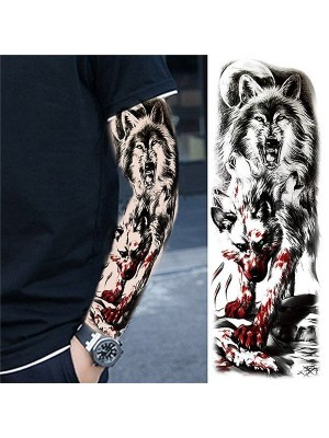 Black and Grey Wolf Sleeve Temporary Tattoo Body Art Transfer No. 65