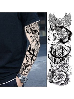 Black and Grey Geisha Girl Sleeve Temporary Tattoo Body Art Transfer No. 70