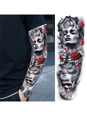 Female Portrait, Rose and Skull Sleeve Temporary Tattoo Body Art Transfer No. 74