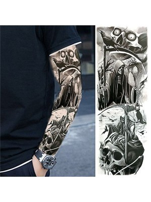 Grim Reaper Halloween Sleeve Temporary Tattoo Body Art Transfer No. 78