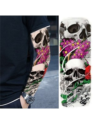 Vibrant Coloured Flower Skull Sleeve Temporary Tattoo Body Art Transfer No. 81