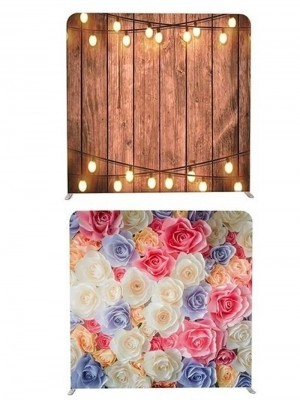 8ft*8ft Rustic Wood With Fairy Lights and Pretty Coloured Flowers Backdrop, With or Without Tension Frame