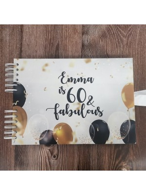 CUSTOM Elated Celebratory Black Gold Balloons Confetti Guestbook with Different Page Style Options