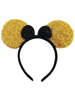 Glitter Gold and Black Mouse Style Ears and Bow