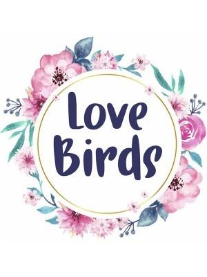 'Love Birds' Flower Wreath Wedding Word Board Photo Booth Prop