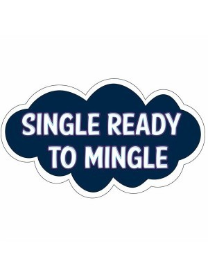 'Single Ready To Mingle' Cloud Word Board Photo Booth Prop