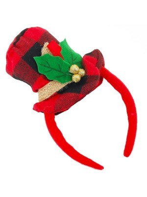 Tartan Snowman Top Hat Headband