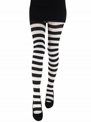 Adult Tights - Black & White Striped