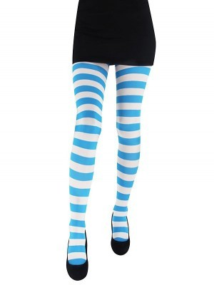 Adult Tights - Blue & White Striped