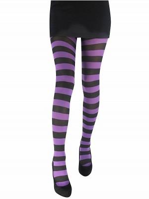 Adult Purple & Black Striped Tights
