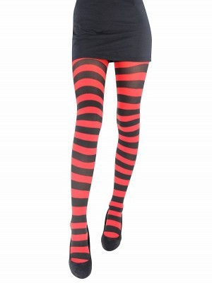 Adult Tights - Red & Black Striped