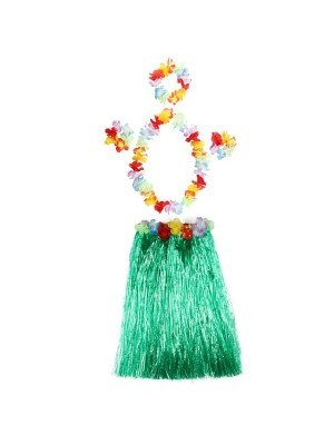 Adult Hawaiian Hula Set In Green