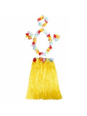 Adult Hawaiian Hula Set In Yellow