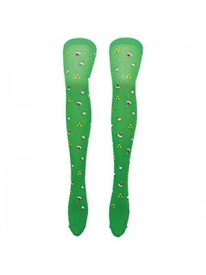 Adult Stockings - Xmas Green Stockings with Santa Hats