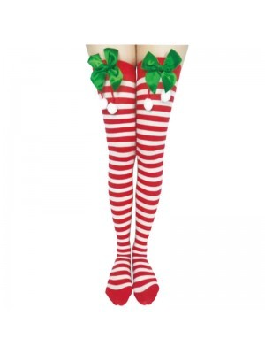 Adult Stockings – Xmas White & Red Striped with Bows