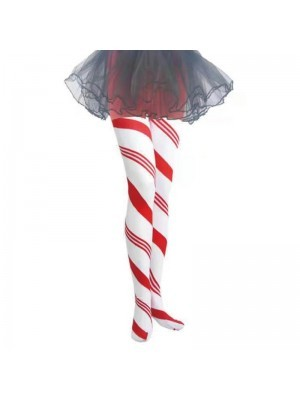 Adult Tights - Xmas Candy Cane Red & White Striped