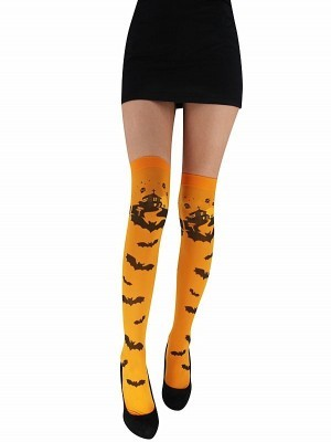 Adult Orange Halloween Bat Stockings