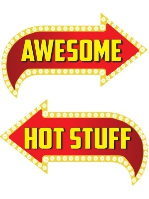 Awesome & Hot Stuff, Double-Sided PVC Vegas Arrow Photo Booth Word Board Signs