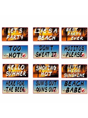 Set of 6 PVC Double-sided Summer Beach Party Photo Booth Props