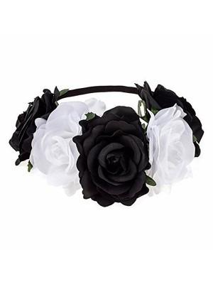 Beautiful Black & White Mix Garland Flower Headband