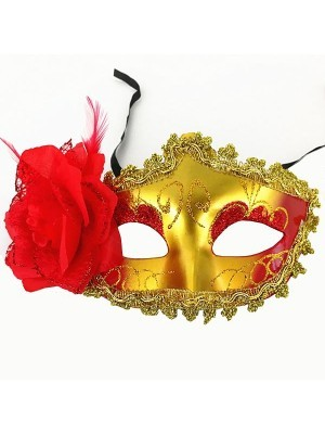 Beautiful Red Flowered Masquerade Mask in Gold