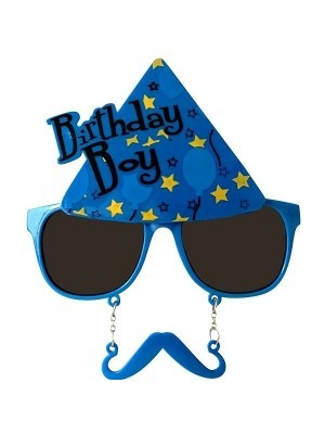Birthday Boy Blue Party Hat Sunglasses With Mustache