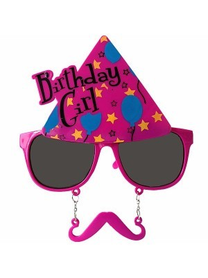 Birthday Girl Pink Party Hat Sunglasses With Mustache
