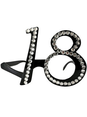 Black '18' Birthday Shaped Diamante Sunglasses