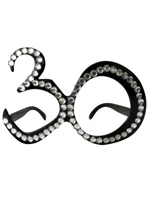 Black '30' Birthday Shaped Diamante Sunglasses