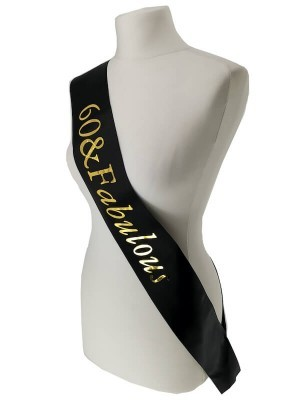 Black With Gold Foil '60 & Fabulous' Birthday Sash