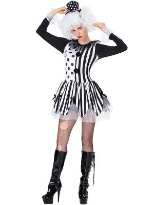Black and White Creepy Clown Women's Halloween Fancy Dress Costume