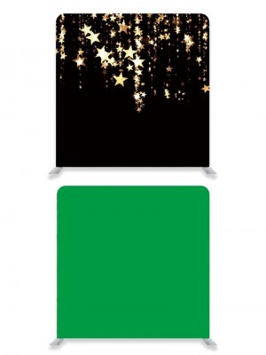 8ft*8ft Green Screen and Black With Gold Falling Stars Backdrop, With or Without Tension Frame