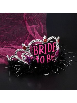 'Bride To Be' Silver Tiara With Pink Veil