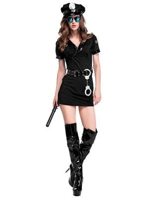 Female Cop Sexy Black Fancy Dress Costume - UK Size 8