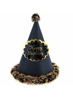 Black Glitter 'Happy Birthday' Paper Hat