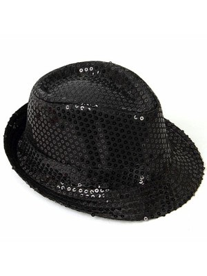 Super Cool Black Sequin Gangster Hat