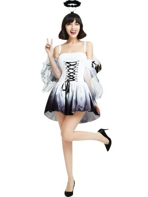 Black & White Ombre Sinful Angel Halloween Fancy Dress Costume - One Size