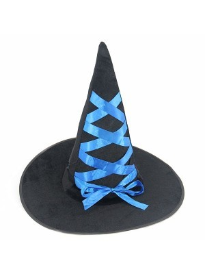Bewitching Black Witches Pointed Hat With Blue Ribbon Halloween Fancy Dress Accessory