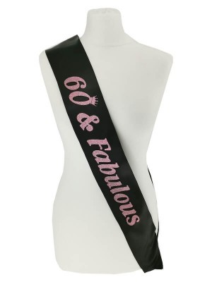 Black With Pink Glitter '60 & Fabulous' Birthday Sash